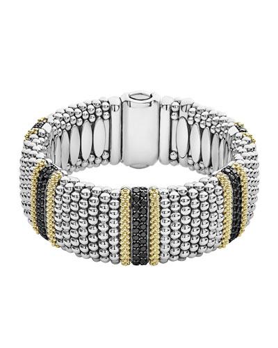 Diamond Lux Caviar 23mm 5-Station Bracelet with Black Diamonds