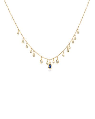 18k Gold  Diamond & Sapphire Drop Necklace