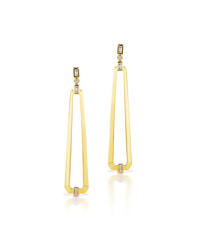 18K Gold Trapezoid Drop Earrings w/ Mixed Diamonds