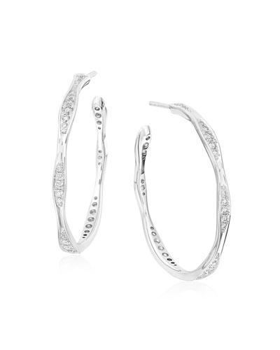 18k White Gold Half Diamond Wave Hoop Earrings