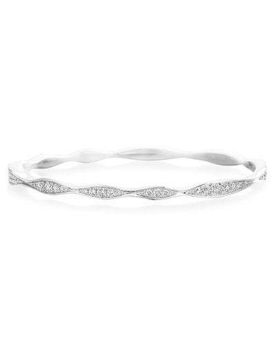 18k White Gold Half Diamond Wave Bangle