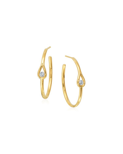 18k Gold Hoop Earrings with Diamond Teardrop