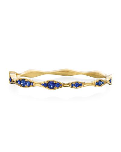 18k Gold Half Blue Sapphire Wave Bangle