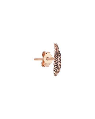 14k Rose Gold Feather Stud Earring (Single)
