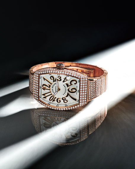 Franck Muller Vanguard 18k Rose Gold Diamond Bracelet Watch