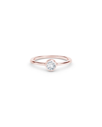 18k Rose Gold Diamond Bezel Solitaire Ring  Size 6.75