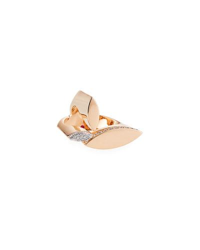 Petals 18k Rose Gold & Diamond Ring, Size 6.5