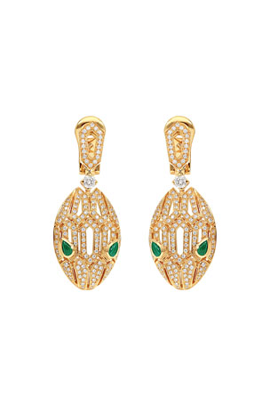 BVLGARI Serpenti Drop Earrings in 18k Rose Gold with Diamonds and Malachite