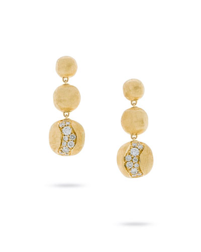 18k Gold Africa Diamond Constellation Triple-Drop Earrings