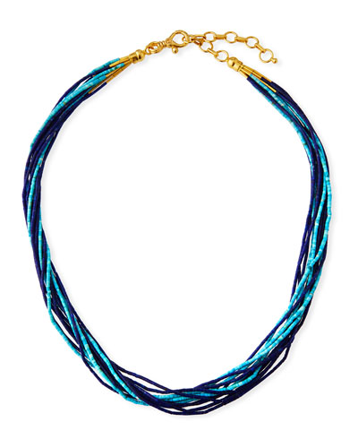 24k Delicate Waterfall Turquoise & Lapis Necklace