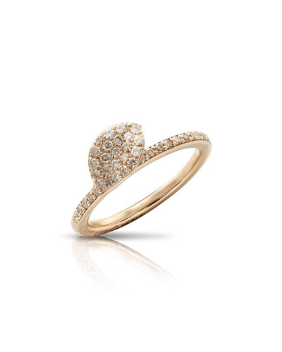 Giardini Segreti 18k Rose Gold Diamond Leaf Ring
