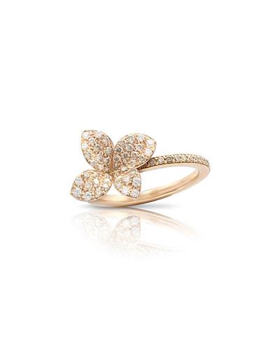 Giardini Segreti 18k Rose Gold Diamond Flower Ring