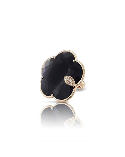 Bon Ton Ton Joli 18k Rose Gold Onyx Ring w/ Diamonds