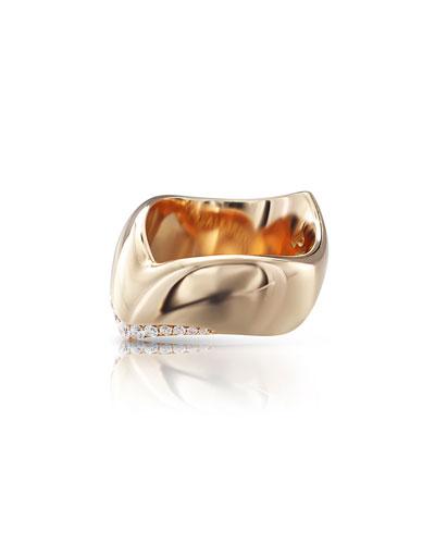 Sensual Touch 18k Rose Gold Diamond-Trim Ring, 0.19tcw