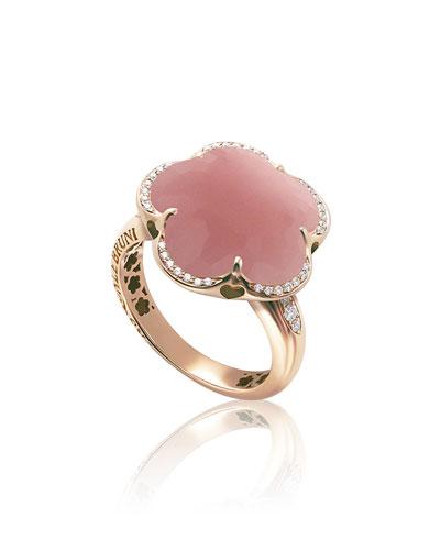 Bon Ton 18k Rose Gold Pink Chalcedony Flower ring w/ Diamonds
