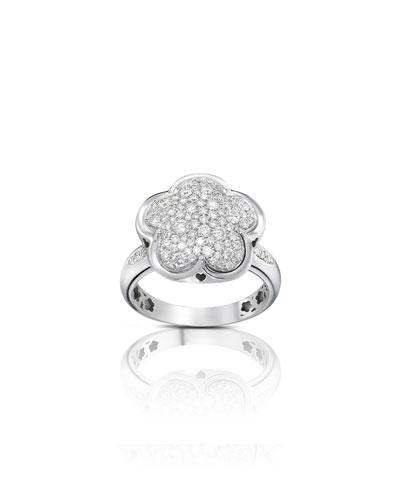 Bon Ton 18k White Gold Diamond Flower Ring, Size 6