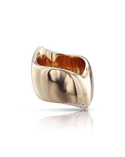Sensual Touch 18k Rose Gold Diamond-Trim Ring, 0.21ct