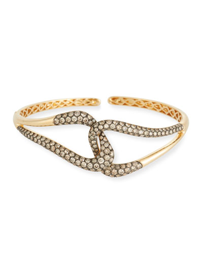 18k Gold & Brown Diamond Link Bracelet, 3.69tcw