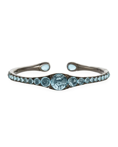 18k Gold, Rhodium & Blue Topaz Bracelet