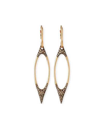 18k Gold & Brown Diamond Oval Dangle Earrings