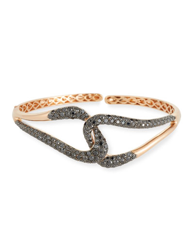 18k Gold & Black Diamond Link Bracelet