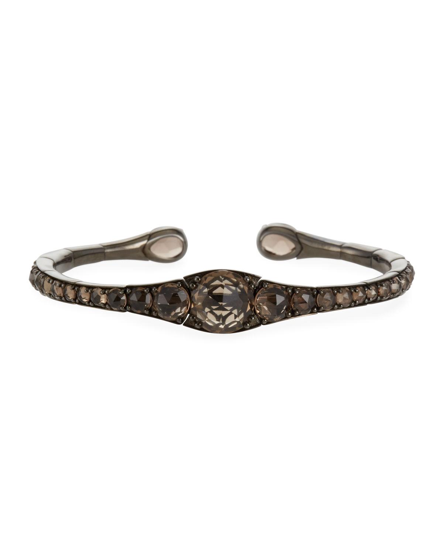 18k Gold Rhodium Smoky Quartz Bracelet