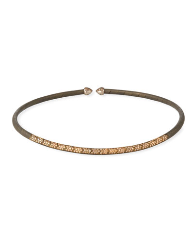 18k White Gold, Titanium & Brown Diamond Choker