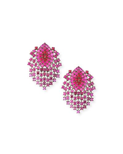 18k Black Gold Ruby Dangle Clip-On Earrings