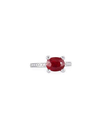 Sunset 18k White Gold Ruby & Diamonds Ring, Size 7