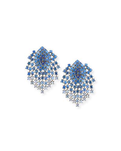 18k Black Gold Sapphire Clip-On Dangle Earrings