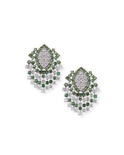 18k White Gold Tsavorite & Diamond Earrings