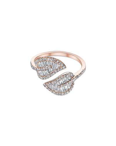18k Rose Gold & Diamond Leaf Wrap Ring, Size 6
