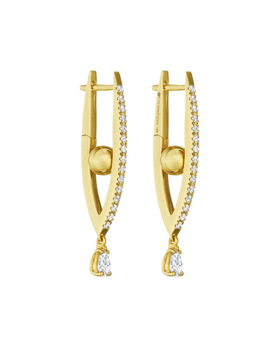 18k Gold Small Diamond Marquise Hoop Earrings