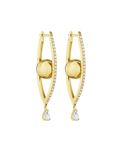 18k Gold Medium Diamond Marquise Hoop Earrings