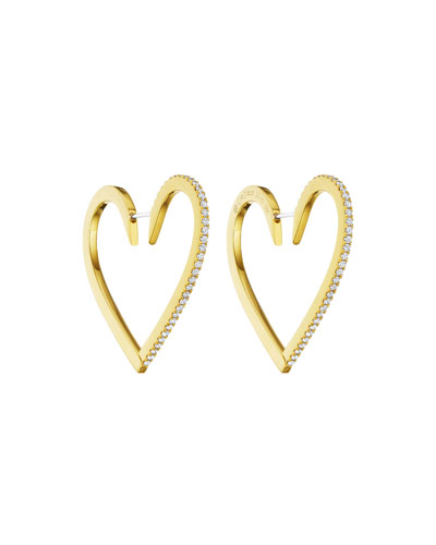 18k Gold Large Diamond Heart Hoop Earrings