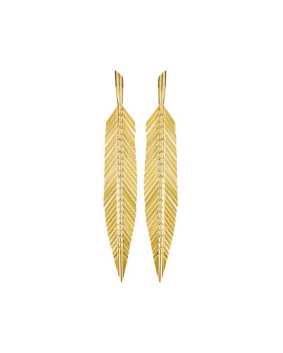 18k Gold Medium Feather Drop Earrings