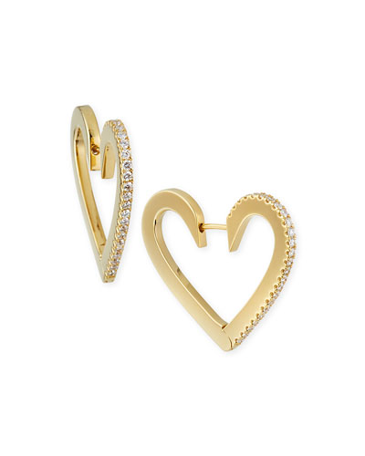 18k Gold Medium Diamond Heart Hoop Earrings