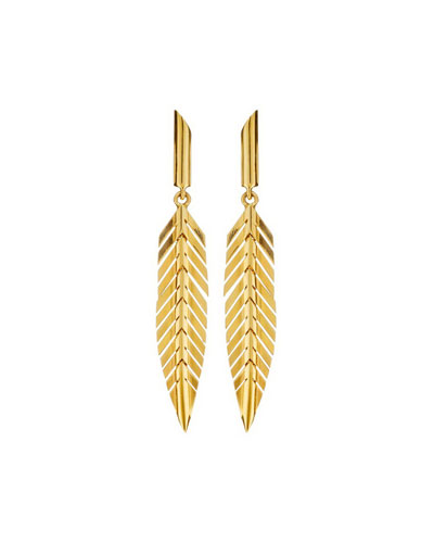 18k Gold Small Feather Drop Earrings