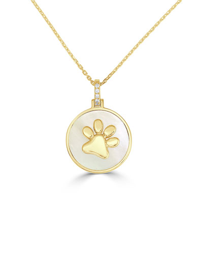 18k Gold Slanted Paw & Mother-of-Pearl Pendant Necklace