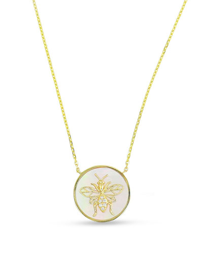 18k Gold, Diamond Bee & Mother-of-Pearl Pendant Necklace