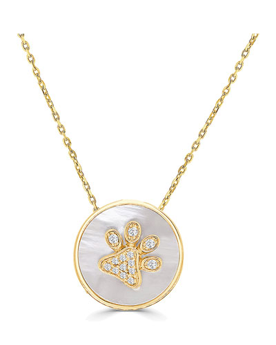 18k Gold Diamond Paw & Mother-of-Pearl Pendant Necklace