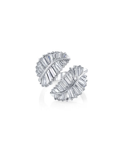 Palm Leaf 18k White Gold & Diamond Ring