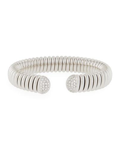 18k White Gold Flex Cuff Bracelet w/ Diamonds