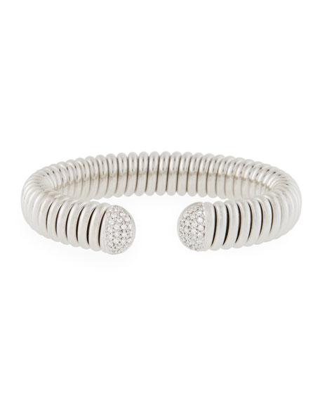 Alberto Milani 18k White Gold Flex Cuff Bracelet w/ Diamonds