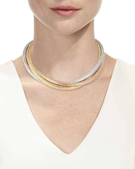 Alberto Milani 18k Tricolor Gold Crossover Necklace