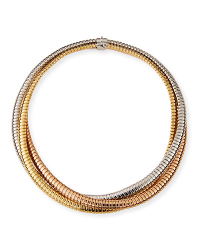 18k Tricolor Gold Crossover Necklace