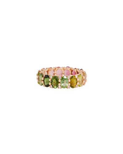 14k Rose Gold Watermelon Tourmaline & Diamond Ring  Size 7