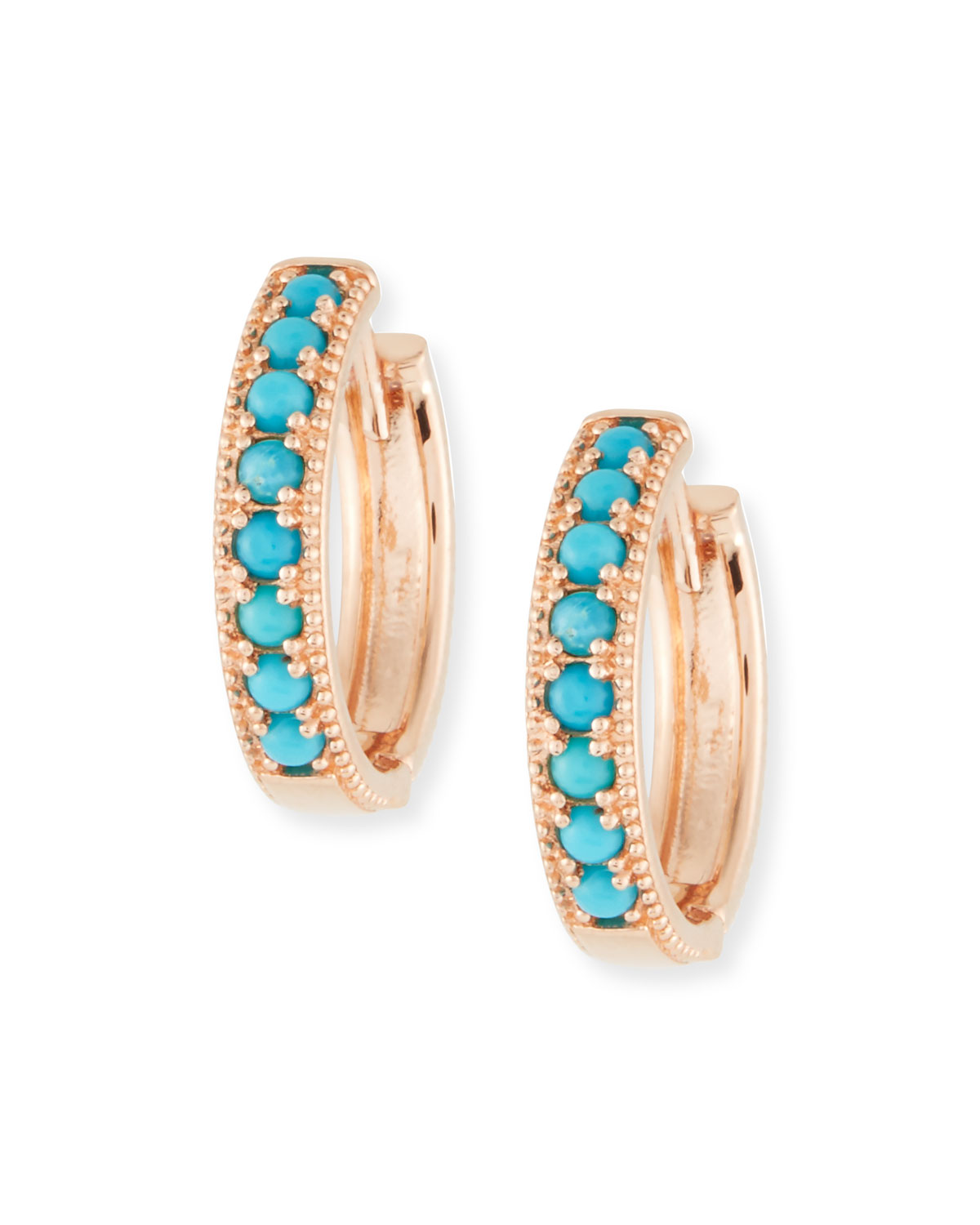 14k Rose Gold Turquoise Hoop Earrings