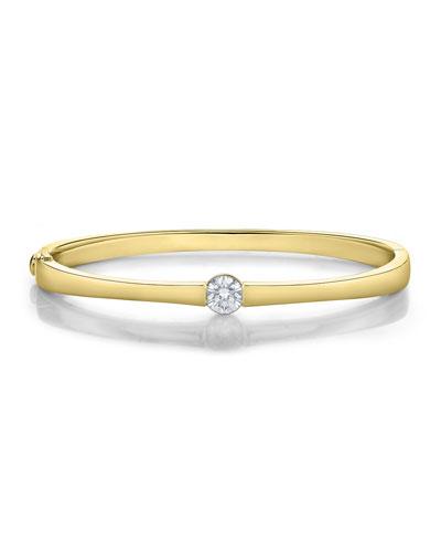 18k Gold Diamond Solitaire Bangle  0.87 ct.