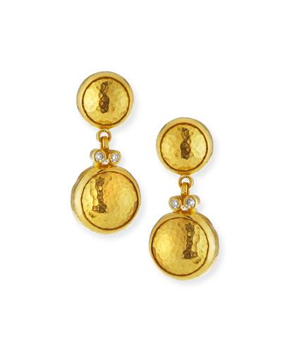 Gurhan 24k Double Drop Earrings With Diamonds
